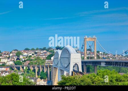 The Royal Albert Railway Bridge and beside it the Tamar Road Bridge, Saltash, Plymouth, Devon, UK - Stock Photo