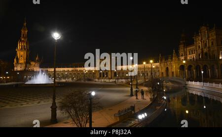 night view in plaza de España,Seville,Spain - Stock Photo