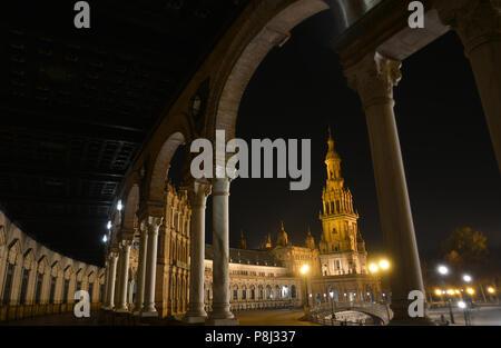 The lights in the night in plaza de España,Seville,Spain - Stock Photo