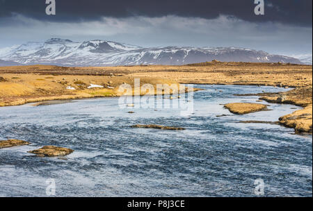 Iceland river nature landscape, (Baejarfell Mountain) - Stock Photo