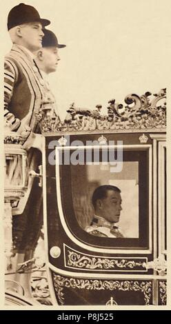 'First State Drive as Monarch', 1937. King Edward VIII leaving Buckingham Palace for a levee at St James' s. From Coronation Souvenir Book 1937, edite