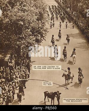 'The King Rode On', 1936 (1937). The failed assassination attempt by George McMahon following the Trooping the Colour ceremony 1936. From Coronation S - Stock Photo