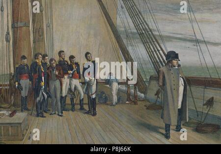 'Napoleon on Board H.M.S. Bellerophon, July, 1815', (1896). Creator: Unknown. - Stock Photo