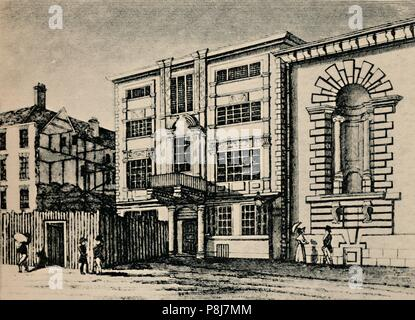 'General Post Office, circa 1793 - Showing Buildings Adjoining Lloyd's Coffee House', (1928). Artist: Unknown. - Stock Photo