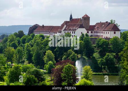 Iburg Castle and Benedictine Abbey, Bad Iburg, Osnabrücker Land, Lower Saxony, Germany - Stock Photo