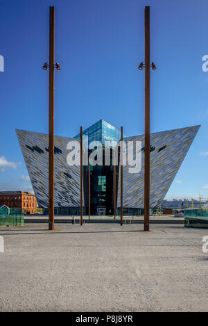 The Titanic Museum on the site of the former Harland & Wolff shipyard in the Titanic Quarter, architect Eric Kuhne, North Facade - Stock Photo