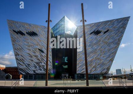 Titanic Museum, Architect Eric Kuhne, Titanic Quarter, North Facade, Belfast, Antrim, Northern Ireland, United Kingdom - Stock Photo