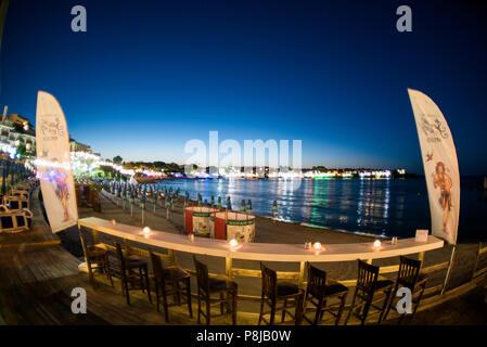 Sozopol, Bulgaria - September 11, 2016: Aloha beach bar on the coast old city - Stock Photo