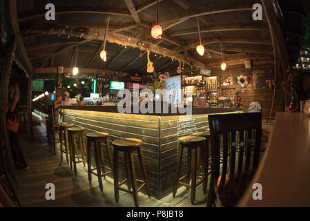 Sozopol, Bulgaria - September 11, 2016: Aloha beach bar on the coast old city - Stock Photo