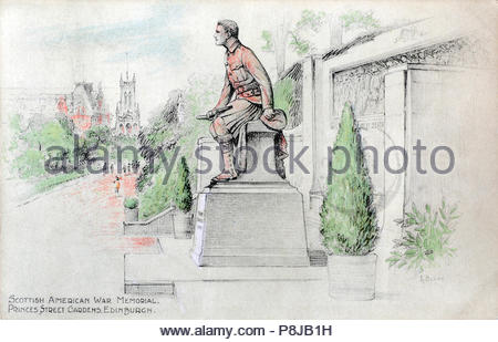 Scottish American War memorial, Princes Street Gardens Edinburgh, vintage postcard from 1920s - Stock Photo
