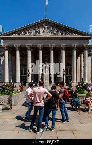 The Royal Exchange Building, City of London, London, England - Stock Photo