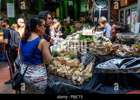 People Shopping For Food, Borough Market, London, England - Stock Photo