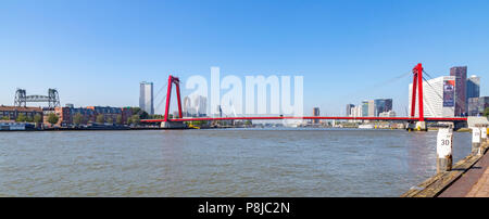 The Hef, far left, the red Willemsbrug ( central position ) and Erasmusbrug in background across Nieuwe Maas, Rotterdam, South Holland, Netherlands. - Stock Photo