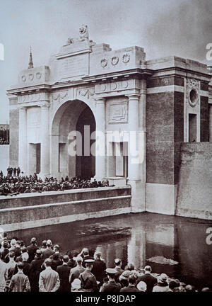The Menin Gate Memorial to the Missing is a war memorial in Ypres, Belgium, dedicated to the British and Commonwealth soldiers who were killed in the Ypres Salient of World War I and whose graves are unknown. The memorial is located at the eastern exit of the town and marks the starting point for one of the main roads out of the town that led Allied soldiers to the front line. Designed by Sir Reginald Blomfield and built and maintained by the Commonwealth War Graves Commission, the Menin Gate Memorial was unveiled on 24 July 1927 by Field Marshal Lord Plumer. - Stock Photo