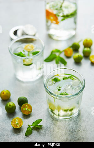 Gin and tonik cocktail with green calamondin and fresh mint leaf. - Stock Photo