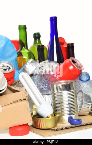 trash for recycling with, glass bottles, cans, plastic bottle and bulb - Stock Photo