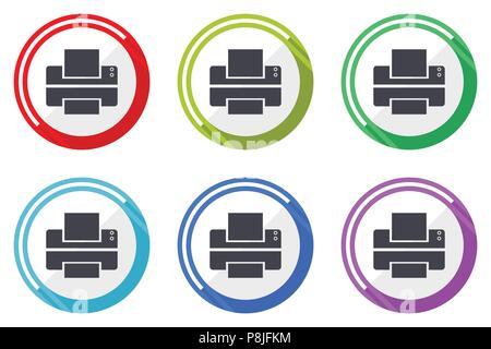 Printer Vector Icons Set Of Colorful Flat Design Internet Symbols