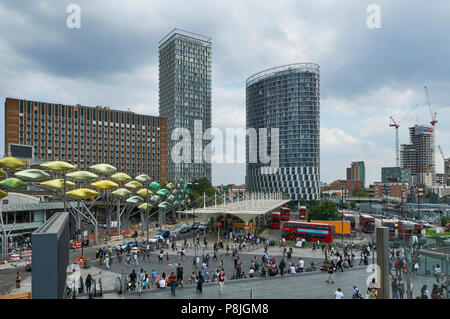 New buildings at Stratford Shopping Centre, East London UK, viewed from the entrance to the new Westfield shopping centre - Stock Photo