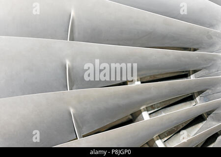 Jet Engine Fan Blades - section of the fan blades of a jet engine - Stock Photo