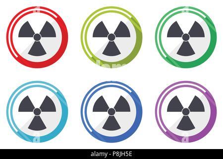 Radiation vector icons, set of colorful flat design internet symbols on white background - Stock Photo