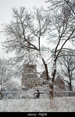 Snow covered St Mark's church, Primrose Hill, Regent's Park, Camden, NW London, England, UK - Stock Photo