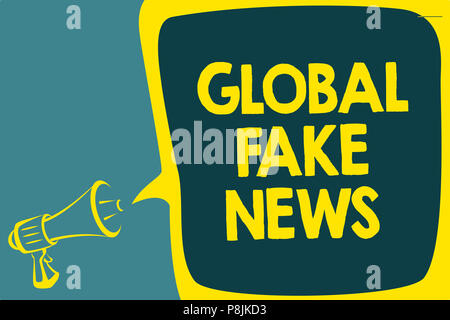 Conceptual hand writing showing Global Fake News. Business photo showcasing False information Journalism Lies Disinformation Hoax Script artwork speak - Stock Photo