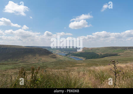 Dovestone National park in the midst of a tinder dry Saddleworth moor - Stock Photo
