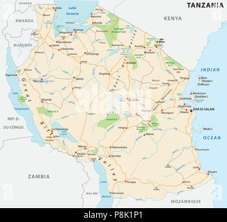 United Republic of Tanzania road vector map - Stock Photo