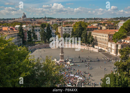 ROME, ITALY - OCTOBER 10, 2017: Aerial view of Piazza del Popolo in Rome, Italy