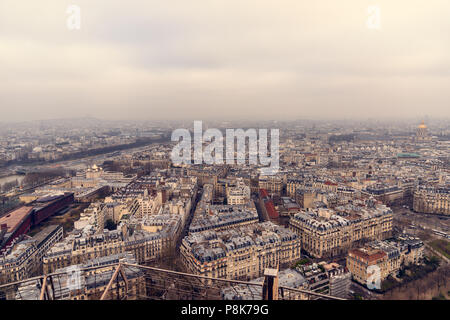 Awesome panoramic view on Paris from Eiffel Tower. - Stock Photo
