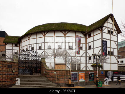 Globe Theatre, Bankside, reconstruction of Shakespeare's playhouse - Stock Photo