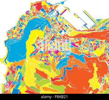 Cape Town, South Africa, colorful vector map.  White streets, railways and water. Bright colored landmark shapes. Art print pattern. - Stock Photo