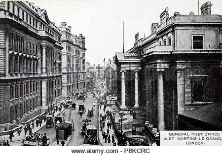 General Post Office & St. Martins Le Grand London, vintage postcard from 1908 - Stock Photo