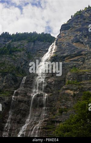 Mürrenbach Falls (also Mürrenbachfall or Mürrelbachfälle) near Stechelberg in the upper Lauterbrunnen valley - Stock Photo