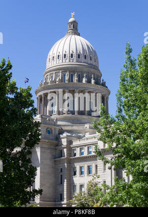The capital building flanked by trees on either side - Stock Photo