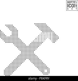 Hammer and Wrench Dot Pattern Icon. Hammer and Wrench Dotted Icon Isolated on White. Vector Icon of Construction - Stock Photo