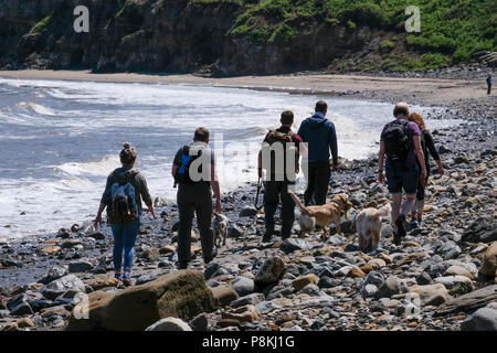 Holidaymakers and people walking the rocks on the beach with dog by the sea on Runswick Bay, North Yorkshire Heritage Coast. - Stock Photo