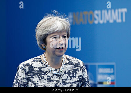 Brussels, Belgium. 11th July 2018. Britain's Prime Minister Theresa May arrives for the second day of a NATO summit in Brussels, Belgium, July 11, 2018. Credit: ALEXANDROS MICHAILIDIS/Alamy Live News - Stock Photo