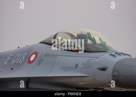 Royal Danish Air Force F-16 Fighting Falcon fighter jet plane at the Royal International Air Tattoo, RIAT 2018, RAF Fairford, Gloucestershire, UK - Stock Photo