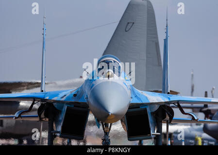Ukrainian Air Force Sukhoi Su-27 Flanker fighter jet plane - Russian built -  at Royal International Air Tattoo, RIAT 2018, RAF Fairford. - Stock Photo