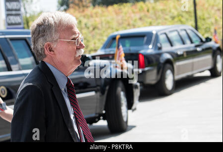Brussels, Belgium. 11th July, 2018. John Bolton, security advisor of the US President, arrives to the NATO summit. State leaders from the 29 NATO member attend the NATO summit from 11 to 12 July 2018. Credit: Bernd von Jutrczenka/dpa/Alamy Live News - Stock Photo