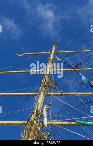 Sunderland, UK. 12th July 2018. The Masts of Russian Tall Ship Mir  Credit: Dan Cooke Credit: Dan Cooke/Alamy Live News Credit: Dan Cooke/Alamy Live News - Stock Photo
