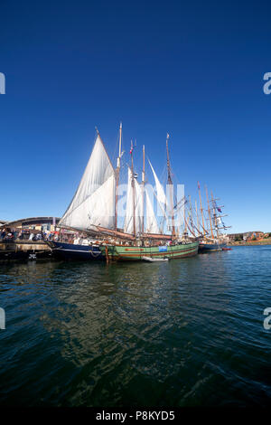 Sunderland, UK. 12th July, 2018. The Tall Ships Race at Sunderland in north-east England. The tall ships will be in Sunderland from 11 to 14 July before departing on the first leg of the 2018 Tall Ships Race, to Ebsjerg in Denmark. Credit: Stuart Forster/Alamy Live News - Stock Photo