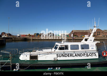 Sunderland, UK. 12th July, 2018. The boat used by the pilots at the Port of Sunderland during the Tall Ships Race at Sunderland in north-east England. The tall ships will be in Sunderland from 11 to 14 July before departing on the first leg of the 2018 Tall Ships Race, to Ebsjerg in Denmark. Credit: Stuart Forster/Alamy Live News - Stock Photo