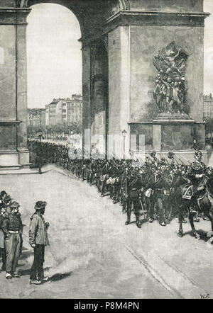 German Troops, Passing under the Arc de Triomphe, in Paris France, 1 March 1871, following Prussian victory in the Franco-Prussian War - Stock Photo