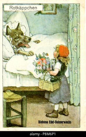 Little Red Riding Hood meets the wolf disguised as a grandmother in bed, F Schoen - Stock Photo