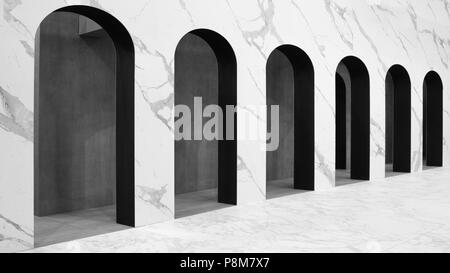 modern white arches architectural background with perspective - Stock Photo