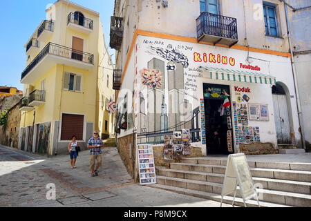 ORGOSOLO, ITALY - MAY 21, 2014: Murals wall paintings about political and historical facts in Orgosolo, Sardinia, Italy - Stock Photo