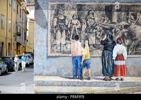 FONNI, ITALY - MAY 21, 2014: Murals wall painting in Fonni, Sardinia, Italy - Stock Photo