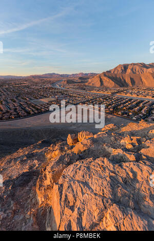 Early morning vertical view of northwest Las Vegas from the top of Lone Mountain in Clark County Nevada. - Stock Photo